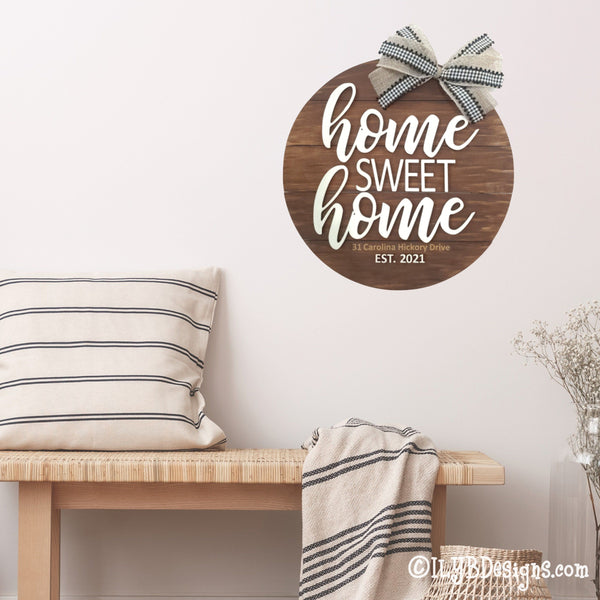 Home Sweet Home Round Shiplap Sign
