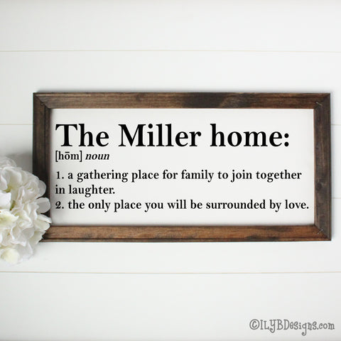 HOME DEFINITION Framed Canvas Sign - Custom Canvas Sign - Personalized Family Sign - ILYB Designs