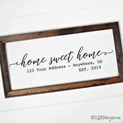 HOME SWEET HOME Framed Canvas Sign - Custom Canvas Sign - Personalized Home Sign | ILYB Designs