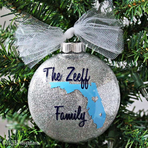 Family Christmas Ornament - State Christmas Ornaments - Personalized Family Ornament - State Ornaments - Realtor Ornament - Custom Ornaments - ILYB Designs