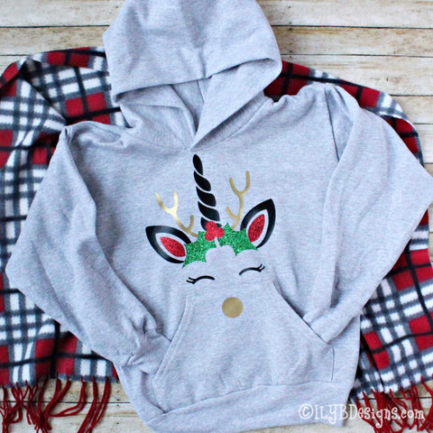 CHRISTMAS UNICORN Children's Hoodie Sweatshirt - CHRISTMAS UNICORN Kids Sweatshirt - ILYB Designs
