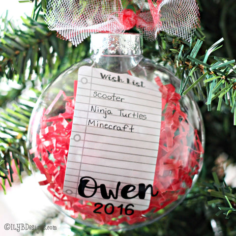 Christmas Wish List Ornament - Personalized Christmas Ornament - All I Want For Christmas Ornament - Keepsake Ornament - ILYB Designs