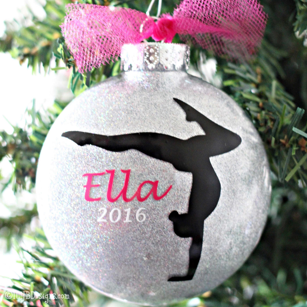 Gymnastics Christmas Ornament - Gymnastics Glitter Ornament - Gymnast Ornament - ILYB Designs