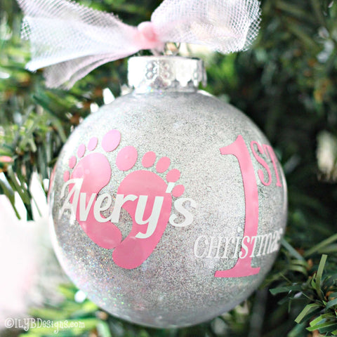 Baby's 1st Christmas Ornament Baby Girl - Baby's First Christmas - ILYB Designs