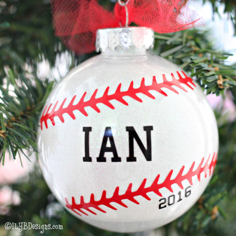 Baseball Christmas Ornament - Personalized Baseball Glitter Ornament - Baseball Ornament - ILYB Designs