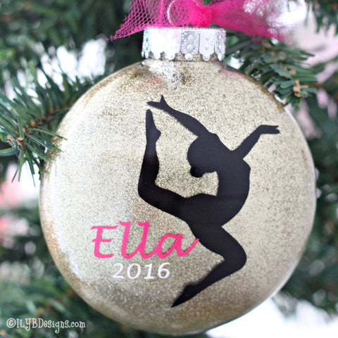 Gymnastics Christmas Ornament - Gymnastics Glitter Ornament - Gymnast Ornament