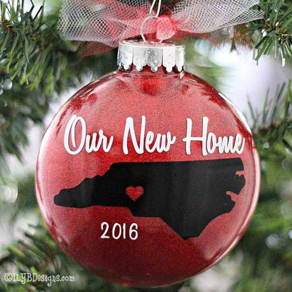 Our New Home Christmas Ornament - First Home Ornament - Personalized Home Ornament - State Ornament - Realtor Ornament - ILYB Designs