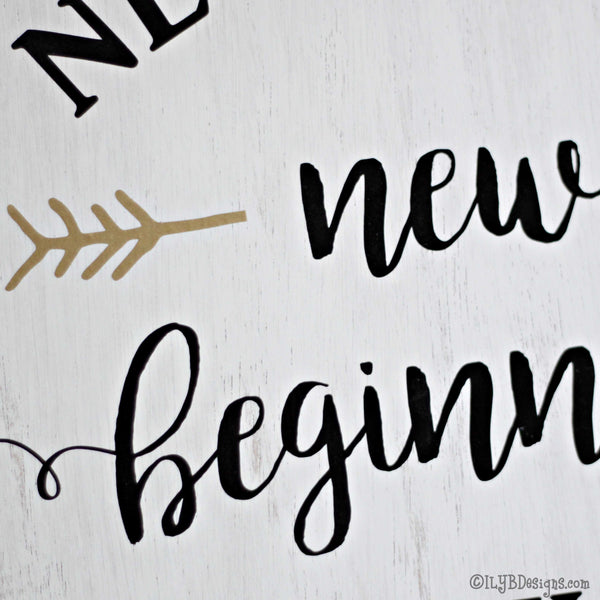 NEW HOME NEW BEGINNING Sign - ILYB Designs
