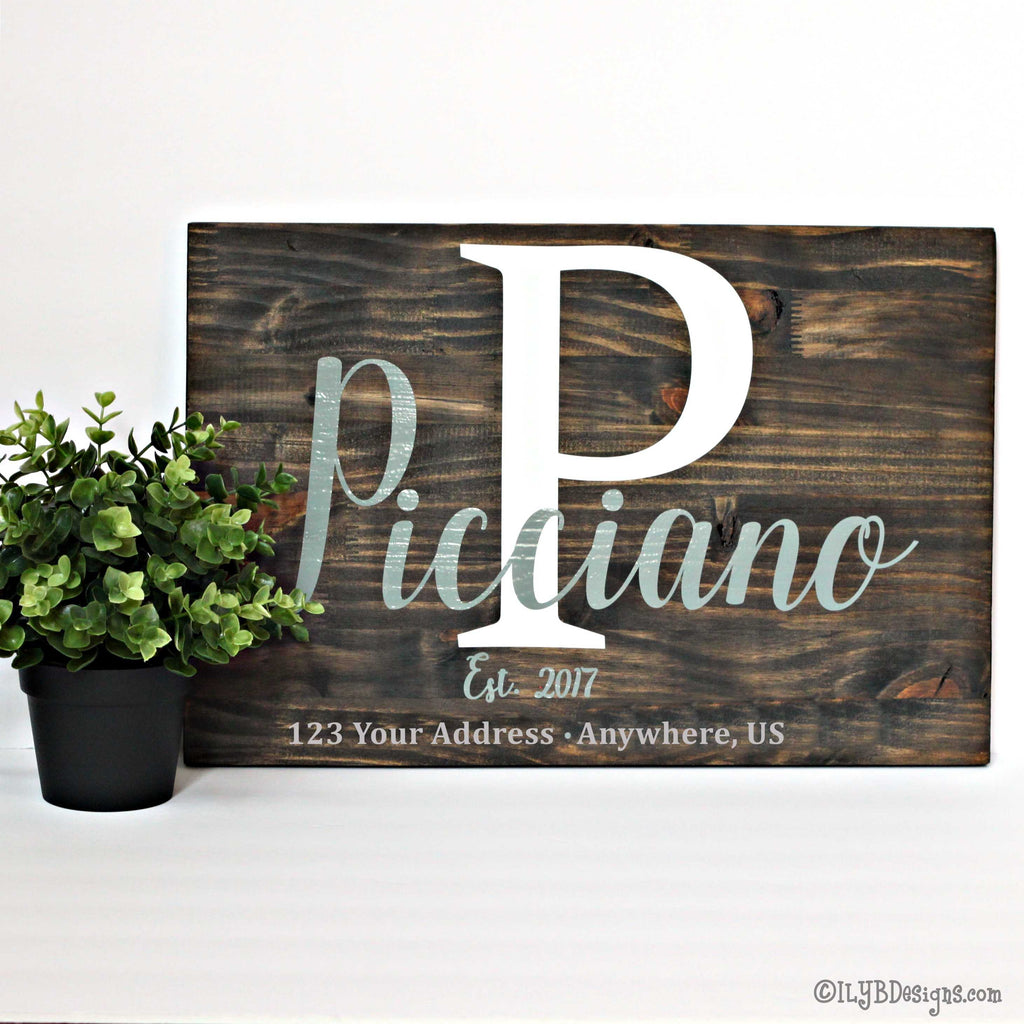 WOOD PERSONALIZED FAMILY ESTABLISHED Sign FAMILY NAME & INITIAL Wood Sign - ILYB Designs