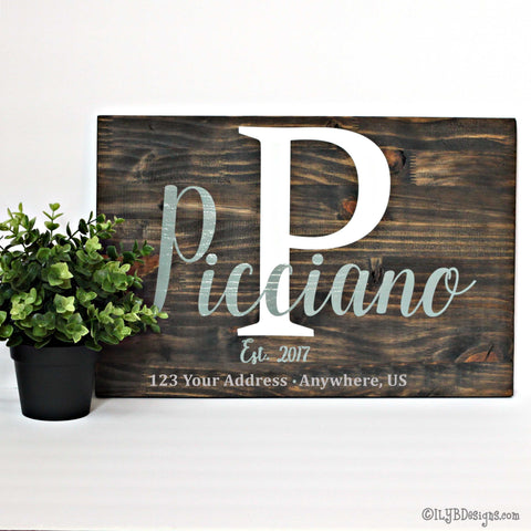 WOOD PERSONALIZED FAMILY ESTABLISHED Sign FAMILY NAME & INITIAL Wood Sign | ILYB Designs