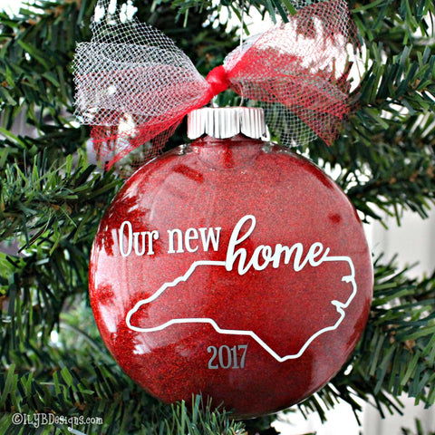 Our New Home Christmas Ornament - First Home Ornament - Personalized Home Ornament - State Ornament - Realtor Ornament