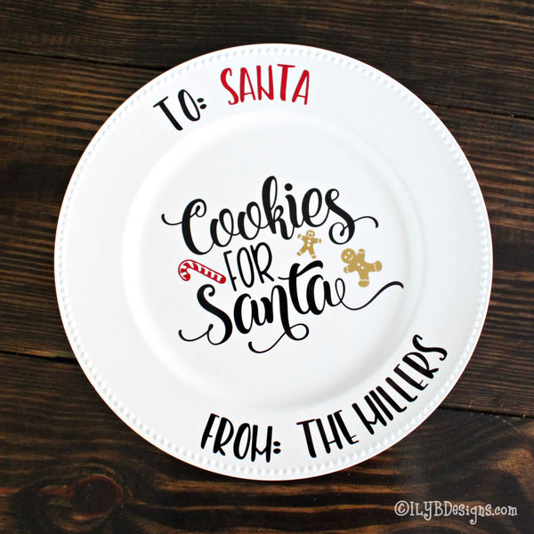 Cookies for Santa Personalized Cookie Plate - ILYB Designs