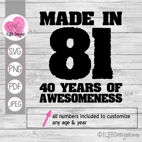 Made in 81 40 years of awesomeness svg design. All numbers included to customize any age and birth year.