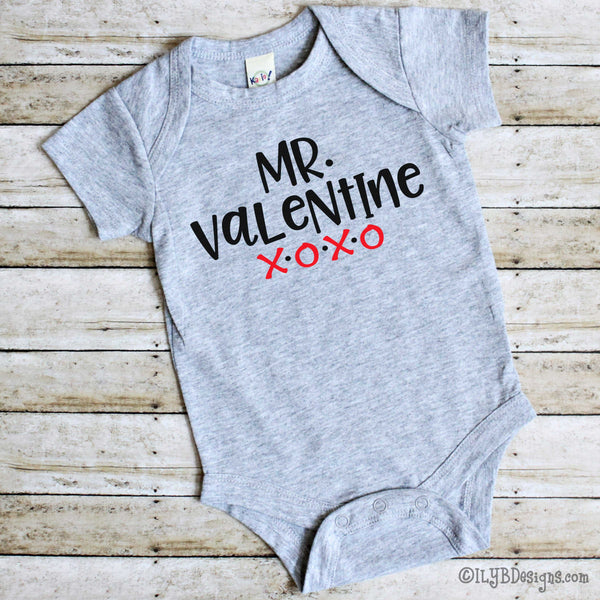 Mr. Valentine Infant Bodysuit - Baby Valentine's Day Bodysuit -  Baby Boy 1st Valentine Baby Bodysuit - ILYB Designs
