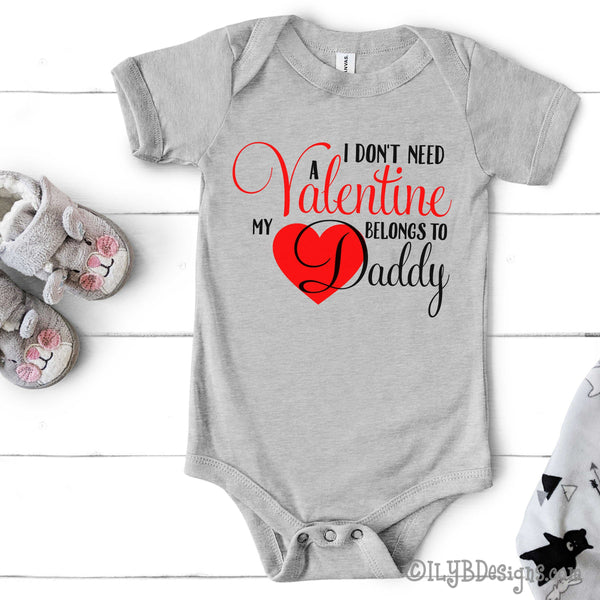 Valentine's Day Baby Bodysuit - My Heart Belongs to Daddy Infant Bodysuit - Daddy's Little Girl Baby's 1st Valentine Baby Shirt - ILYB Designs