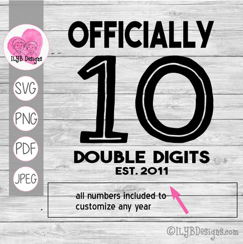officially 10 double digits established year svg design. All numbers included to customize any birth year.