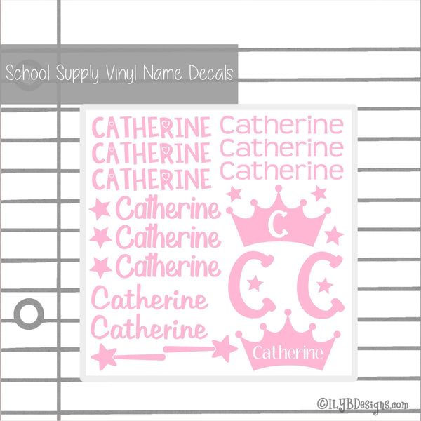 Princess Back to School Labels - School Supply Labels for Girls - Back to School Name Decals - ILYB Designs