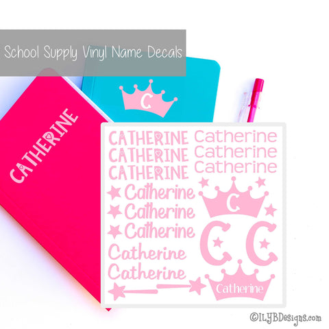 Princess Back to School Labels - School Supply Labels for Girls - Back to School Name Decals | ILYB Designs
