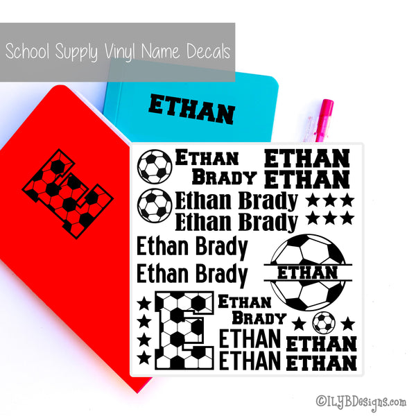 Soccer Back to School Name Labels - School Supply Labels for Boys - ILYB Designs