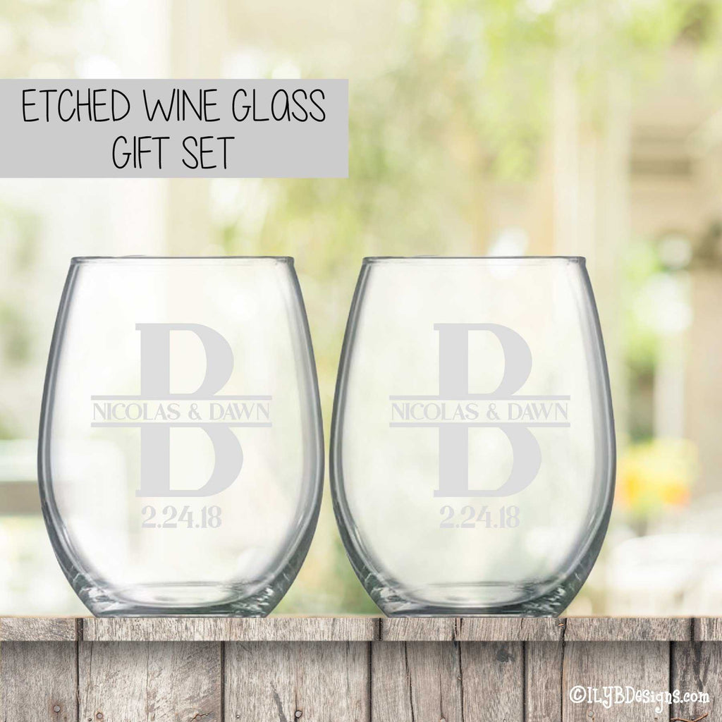 Etched Wine Glasses Set  -  Initial & Names with Wedding Date - ILYB Designs