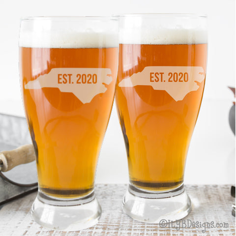 Etched Pilsner Glasses (Set of 2) - State Silhouette and Established Year