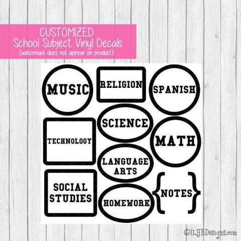 Back to School Subject Labels - CUSTOMIZED School Subject Labels for Boys