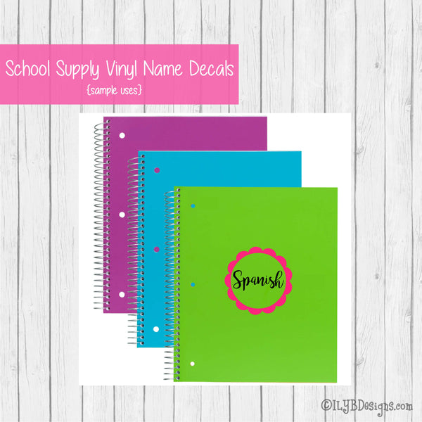 Back to School Subject Labels - CUSTOMIZED School Subject Labels for Girls - ILYB Designs