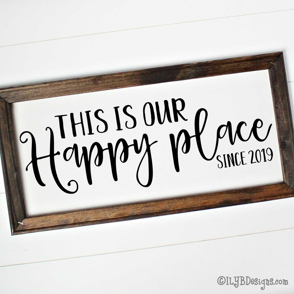 THIS IS OUR HAPPY PLACE Framed Canvas Sign - Custom Canvas Sign - Personalized Home Sign - ILYB Designs