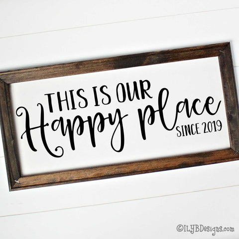 THIS IS OUR HAPPY PLACE Framed Canvas Sign - Custom Canvas Sign - Personalized Home Sign | ILYB Designs