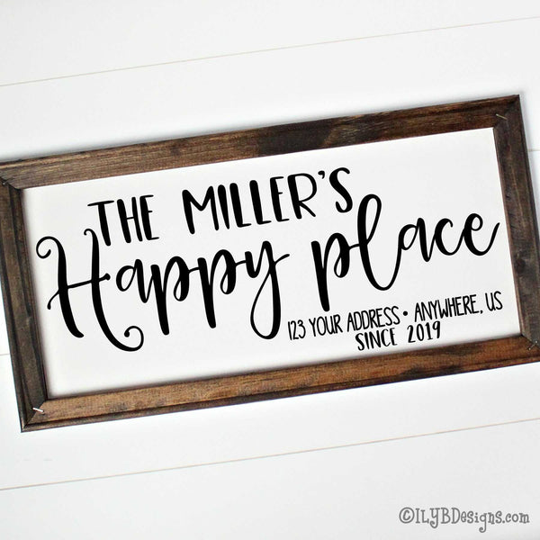 "Dark walnut stained 20""x10"" frame on a white canvas with black words in a mix of script and print fonts. It reads, ""The Miller's Happy place, with an address line, and since 2019."" The design is placed horizontally on the sign."