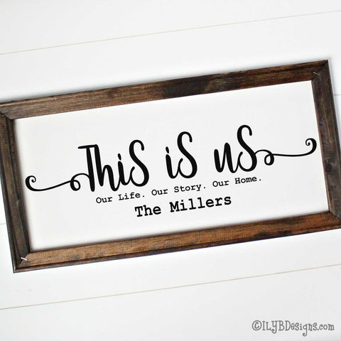 "Dark walnut stained 20""x10"" framed canvas with ""This is us"" in a black script font followed by a typewriter font that says, ""Our Life. Our Story. Our Home."" An optional family name is underneath those words."