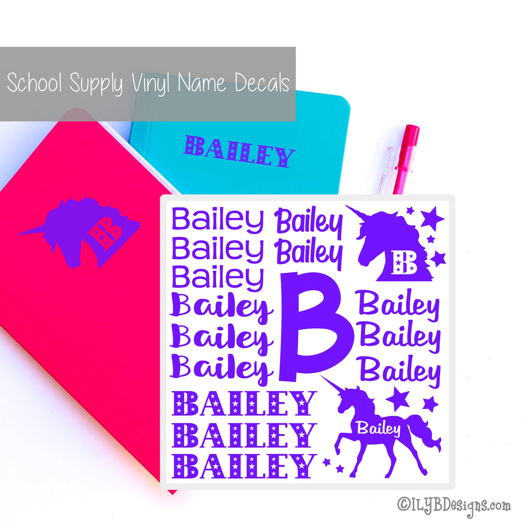 Unicorns Back to School Labels - School Supply Labels for Girls - Back to School Name Decals - ILYB Designs
