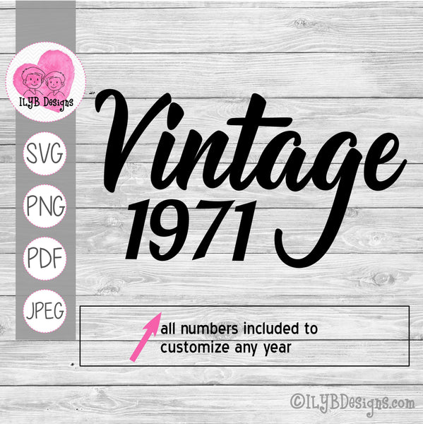Vintage (year) svg design. Can be customized with any birth year. All numbers included to customize any year.