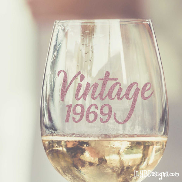 50th Birthday Wine Glass Set  -  VINTAGE & 50 SHADES OF FABULOUS - ILYB Designs