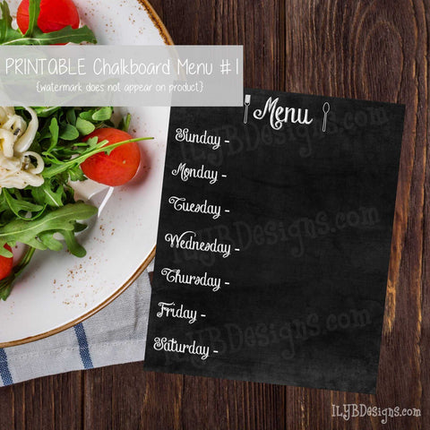 PRINTABLE Chalkboard Menu #1 - ILYB Designs
