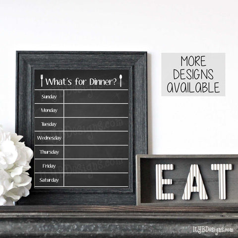 Chalkboard Menu Board - Distressed Black Farmhouse Style 8x10 Frame - ILYB Designs
