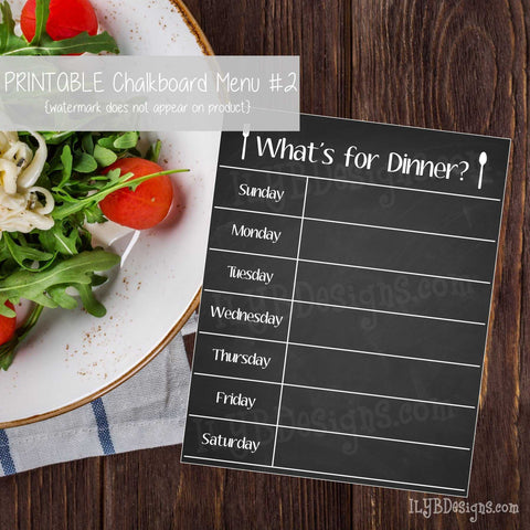 PRINTABLE Chalkboard Menu #2