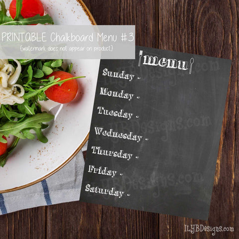 PRINTABLE Chalkboard Menu #3