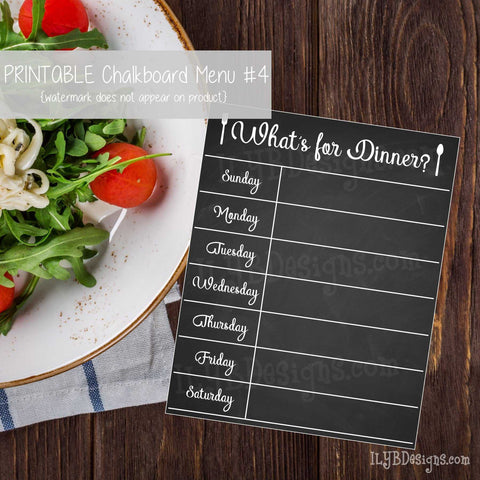 PRINTABLE Chalkboard Menu #4