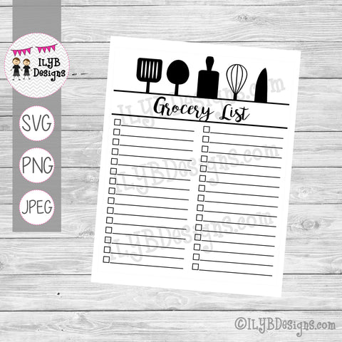 GROCERY LIST #3 - Dry Erase Reusable Grocery LIst SVG, PNG, JPEG Printable Files