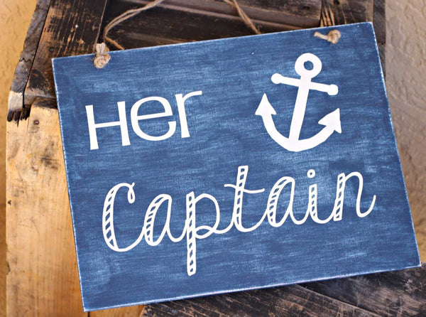 "Beach Wedding Signs - Nautical Anchor ""Her Captain""/""His First Mate"" Painted Wood and Vinyl Hanging Sign Set - ILYB Designs"