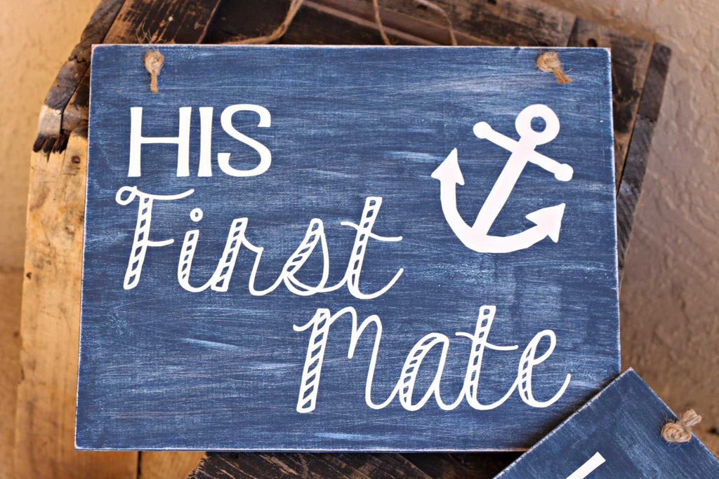 beach wedding signs nautical anchor her captainhis first mate