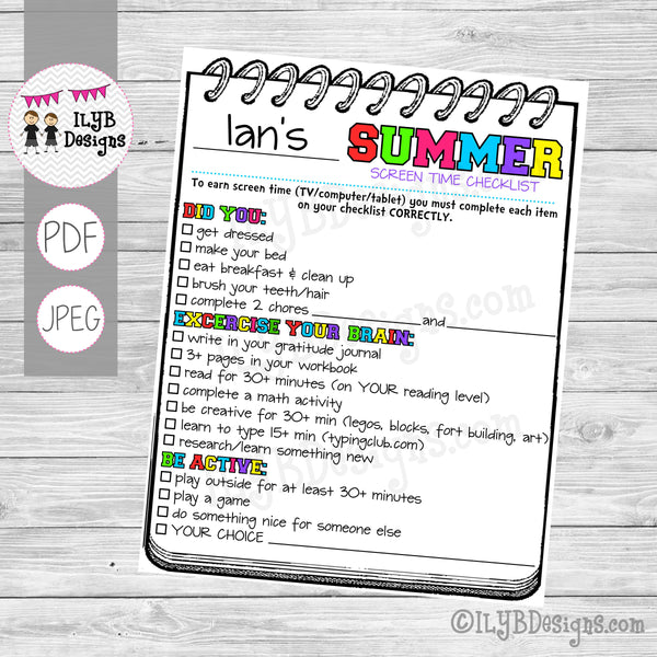 SUMMER SCREEN TIME CHECKLIST for older kids PDF, JPEG Printable Files - Summer Schedule - Summer Learning Checklist - Technology Chart