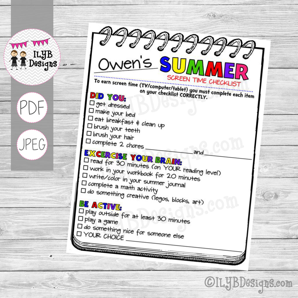 SUMMER SCREEN TIME CHECKLIST PDF, JPEG Printable Files - Summer Schedule - Summer Learning Checklist - Technology Chart - ILYB Designs