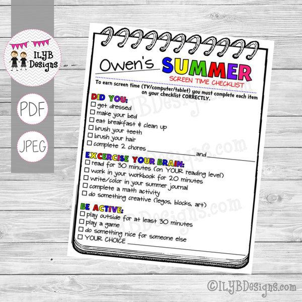 SUMMER SCREEN TIME CHECKLIST PDF, JPEG Printable Files - Summer Schedule - Summer Learning Checklist - Technology Chart