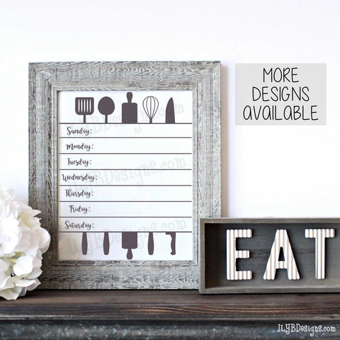 Weekly Menu Board Utensils - Gray Rustic Farmhouse Style 8x10 Frame - ILYB Designs