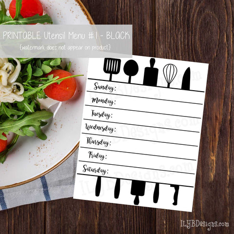 PRINTABLE Utensil Menu #1 - Black - ILYB Designs