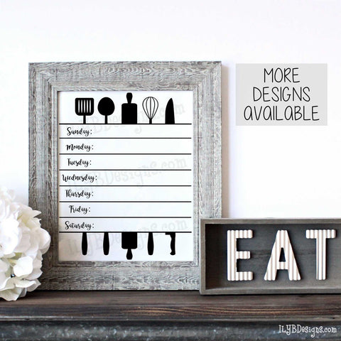 Menu Board Utensils - Gray Distressed Farmhouse Style  8x10 Frame - ILYB Designs