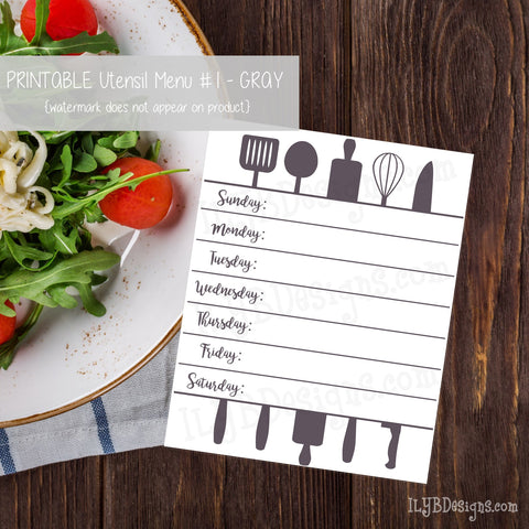 PRINTABLE Utensil Menu #1 - Gray - ILYB Designs