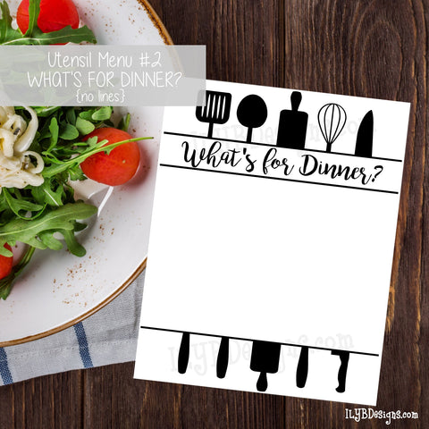 PRINTABLE Utensil Menu #2 - What's for Dinner (no lines) - ILYB Designs